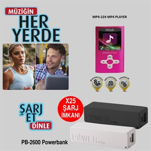Goldmaster GoldSmart MP4-224 PEMBE 8GB MP3 Çalar + Powerbank