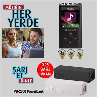 Goldmaster GoldSmart MP4-224 Siyah 8GB MP3 Çalar + Powerbank