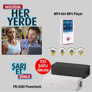 "Goldmaster MP4-494 4GB 1.8"" Ekran + Powerbank"