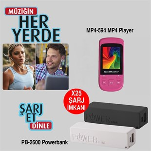 "Goldmaster MP4-594 4GB 1.8"" Ekran + Powerbank"